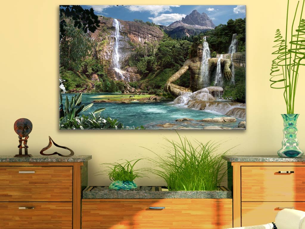 waterfalls mountain landschaftsbilder der fantasy kunst hinter acryl glas ebay. Black Bedroom Furniture Sets. Home Design Ideas